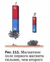 Магнитное поле первого магнита сильнее, чем второго